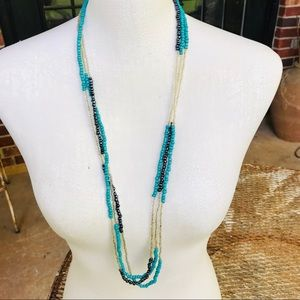 Jewelry - 3 strands of tri-colored seed bead necklaces 17""